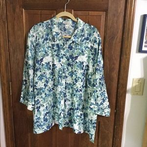 Machine wash linen shirt/jacket, blues/greens